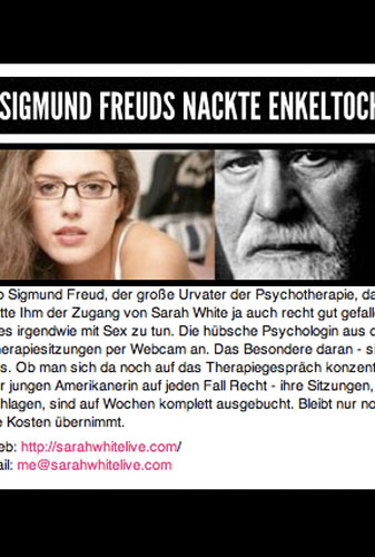 February 2011: Called Sigmund Freud's Naked Granddaughter